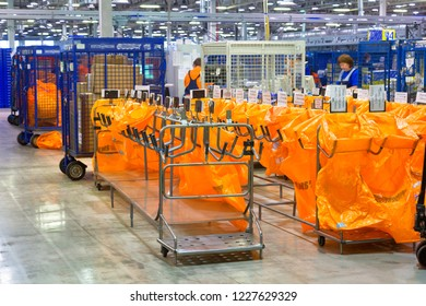 RUSSIA, MOSCOW - DECEMBER 16, 2015: The main sorting center of the international post office in Moscow