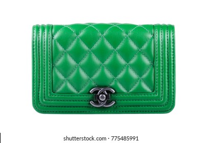 Russia, Moscow - December 2017 : Photo of green Chanel handbag brand Editorial