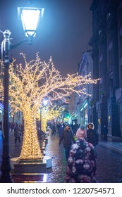 RUSSIA, MOSCOW, DECEMBER 2017: Tree with bulbs in the form of illumination