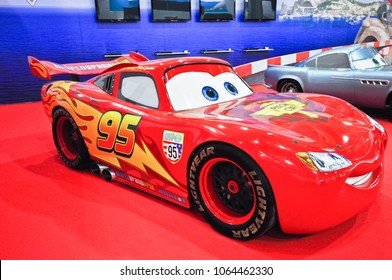 Russia, Moscow, Expocentre, 29 August - 9 September 2012: CARS animated movie  Cartoon Figure of Lightning McQueen at  4th Moscow International Automobile Salon (MIAS 2012)