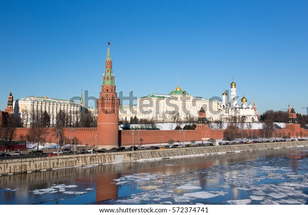RUSSIA, MOSCOW - FEBRUARY 02: Kremlin of Moscow in 2017. Embankment of the Moskva River