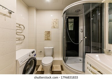 Russia, Moscow- February 10, 2020: interior room apartment modern bright cozy atmosphere. general cleaning, home decoration, preparation of house for sale. bathroom, sink, decor elements, toilet