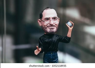 Russia, Moscow - February 17, 2018: Apple store showcase, Steven Jobs figure.