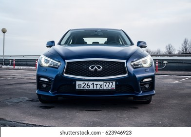 RUSSIA, MOSCOW - FEBRUARY 26, 2017. INFINITI Q50 S sedan car, front-side view
