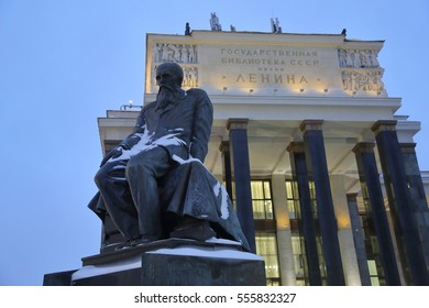 RUSSIA, MOSCOW - JANUARY 14, 2017: Monument to the great russian writer Fyodor Dostoevsky