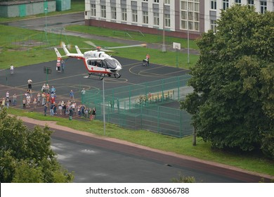 Russia, Moscow, July 03, 2017. Rescue helicopter in city