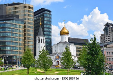 Russia, Moscow, July 2019. Church of St. Nicholas at the Tver Outpost, belongs to the old believer community.  It was built in 1914. The temple is made in neo-Russian style, architect — Anton Gordienk