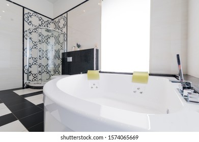 Russia, Moscow- July 21, 2019: interior room apartment. standard repair decoration in hostel. modern bathroom, sink, decoration elements, toilet