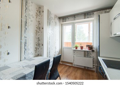 Russia, Moscow- June 05, 2019: interior room apartment. standard repair decoration in hostel. kitchen and dining room