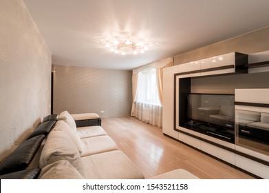 Russia, Moscow- June 11, 2019: interior room apartment. standard repair decoration in hostel