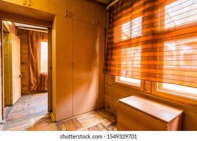 Russia, Moscow- June 11, 2019: interior room apartment. standard repair decoration in hostel. wooden country house