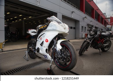 RUSSIA, MOSCOW - JUNE 12, 2018: RSBK Russian Superbike, Motorcycle race, Moscow raceway. Preparing bike for the race. near the boxes.