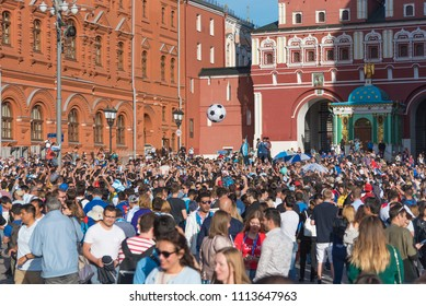 Russia, MOSCOW, JUNE 15, 2018. A crowd of Argentine fans in the center of Moscow on red square, having fun and singing songs. The period of the international FIFA world Cup 2018 in Moscow.