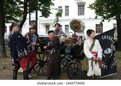 "RUSSIA, MOSCOW – JUNE 15 2019: ""Times and epochs"" festival.  Reenactors in characters of Russian anarchists of bat'ko Makhno. Russian civil war. 20th century."