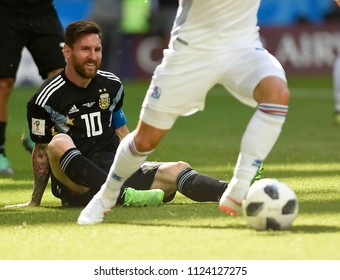 RUSSIA MOSCOW- June 16, 2018: Leonel Messi  of Argentina the World C up Group D game between Argentina and Iceland at Spartak Stadium.