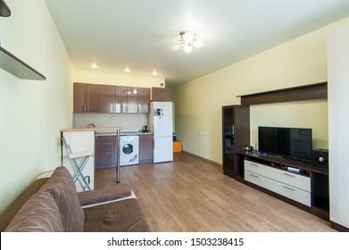 Russia, Moscow- June 17, 2018: interior room apartment. standard repair decoration in hostel
