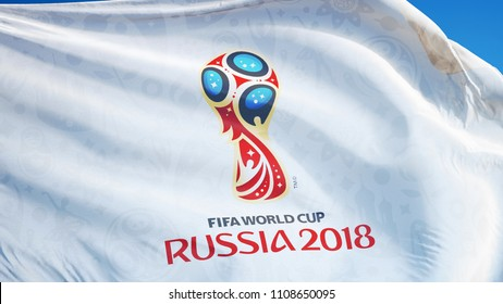 RUSSIA MOSCOW JUNE 2018: FIFA 2018 World Cup flag waving against bright blue sky, editorial image, close up, isolated on clear blue sky.
