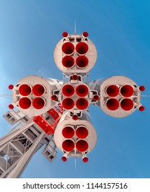"""Russia, Moscow - June 22, 2018: Launch vehicle """"Vostok"""" at VDNH  view from below"""