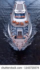 Russia, Moscow - June 7, 2018: Ship of Flotilla Radisson Royal. Moscow River Cruise