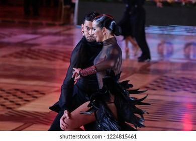 Russia. Moscow. Kremlin Palace. 27 octember, 2018. Dance pair Konstantin Kaftan and Alexandra Povzun on the Kremlin Cup Latin dance among Amateurs.