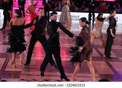 Russia. Moscow. Kremlin Palace. 27 octember, 2018. Dance pair Konstantin Kaftan and Alexandra Povzun on the Kremlin Cup Latin dance among Amateurs.