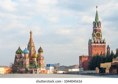 Russia, Moscow, Kremlin, St. Basil's Cathedral, Red square, Spasskaya tower