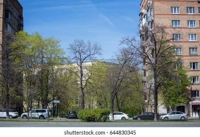 Russia, Moscow, Leninsky Prospekt, green trees, architecture, view of the understudy Leninsky Prospekt, May 20, 2017