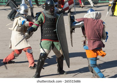 RUSSIA, MOSCOW - MARCH 14: Unidentified people in retro costume fights on history reenactment of the Medieval maneuvers in Moscow, 14 March, 2015, Russia