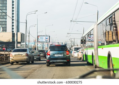 Russia, Moscow - March, 15, 2017: Cars on the street of the city through the glass of the car window in Moscow in 2017