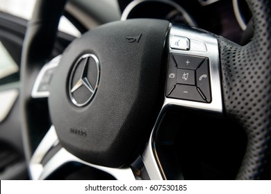 RUSSIA, MOSCOW, MARCH 24, 2017: Mercedes Benz ML 350 steer wheel with bluetooth handsfree control