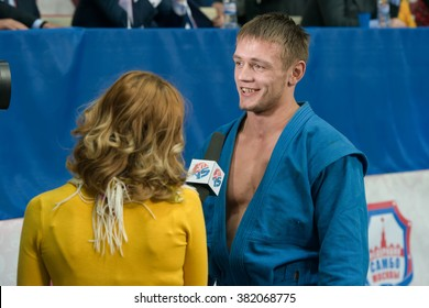 RUSSIA, MOSCOW - MARCH 27, 2015: Winner of the World Cup Memorial A. Kharlampiev in the weight category Combat Men of 68 kg Shagin Vadim in Stadium Druzhba sport palace Luzhniki, Moscow, Russia