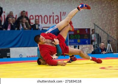 RUSSIA, MOSCOW - MARCH 27: Emil Hasanov (R) vs Evgeniy Sukhomlinov (B) on World Sambo Championship Kharlampiev memorial in Luzhniki sport palace, Moscow, Russia, 2015