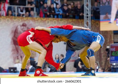 RUSSIA, MOSCOW - MARCH 27: Kanzhanov Beimbet fights with Umbayev Nasimi on World Sambo Championship Kharlampiev memorial in Luzhniki sport palace, Moscow, Russia, 2015