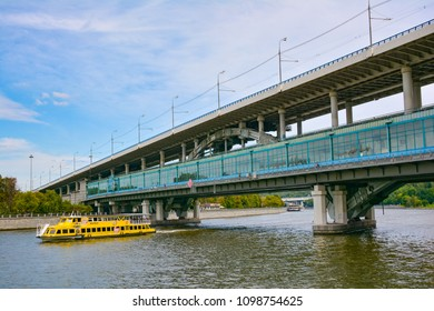 Russia, Moscow, May 11, 2018.  Bridge - metro station Vorobyovy Gory