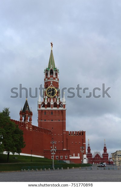 RUSSIA, MOSCOW, MAY 18, 2015: Spasskaya Tower on the eastern wall of the Moscow Kremlin at the Red Square