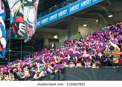 Russia, Moscow, May 2018: Fans of the CSKA football club (Moscow) during the match of the Russian Football Championship among CSKA Moscow (Moscow) - Arsenal (Tula)