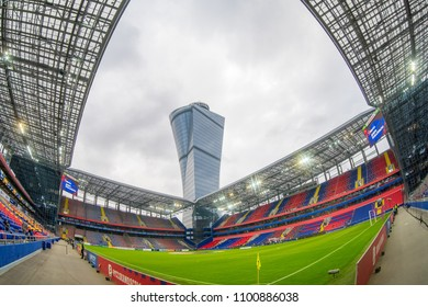 RUSSIA, MOSCOW, MAY, 2018: New Stadium CSKA Moscow at cloudy day, Stadium was built in 2016