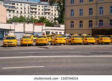 Russia, Moscow, May 27, 2018 - Parking for taxi cars of the company Yandex-Taxi
