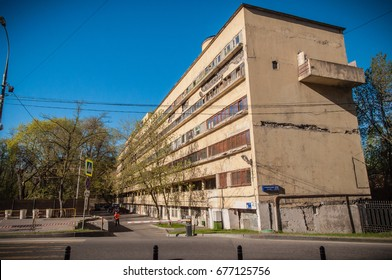 RUSSIA, MOSCOW - MAY 5, 2017. Narkomfin building. Exterior view. Famous Constructivist architecture building in the Central district of Moscow.
