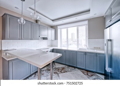 Russia Moscow - Modern interior kitchen design of urban real estate