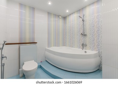 Russia, Moscow- November 04, 2019: interior room apartment modern bright cozy atmosphere. general cleaning, home decoration, bathroom, sink, decoration elements, toilet