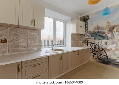 Russia, Moscow- November 04, 2019: interior room apartment modern bright cozy atmosphere. general cleaning, home decoration, preparation of house for sale. kitchen and dining room