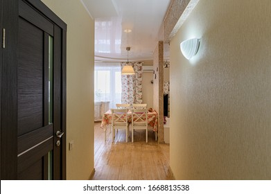 Russia, Moscow- November 15, 2019: interior room apartment modern bright cozy atmosphere. general cleaning, home decoration, preparation of house for sale