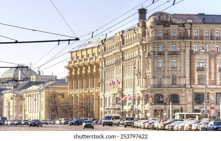 RUSSIA, MOSCOW - November 18.2013: The oldest and famous Hotel Nacional in the historic city center