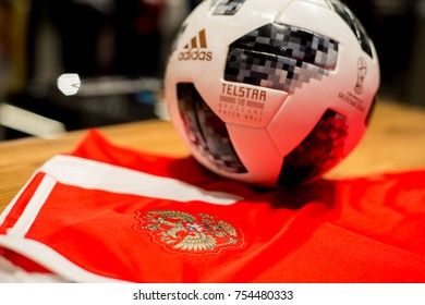RUSSIA, MOSCOW, NOVEMBER 2017: The official ball of the World Cup 2018 Adidas Telstar, which will be held in the summer in Russia.