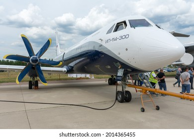 Russia. Moscow oblast. Zhukovsky. July 21, 2021. MAKS-2021 Air Show. The IL-114-300 aircraft is on the runway.