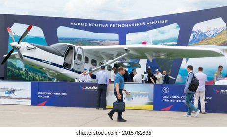 Russia. Moscow oblast. Zhukovsky. July 21, 2021. MAKS-2021 Air Show. Presentation of the new light multi-purpose aircraft Baikal 901