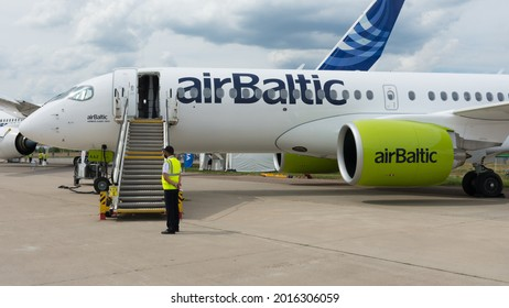 Russia. Moscow oblast. Zhukovsky. July 21, 2021. MAKS-2021 Air Show. Airbaltic Airbus A 220-300 aircraft on the runway