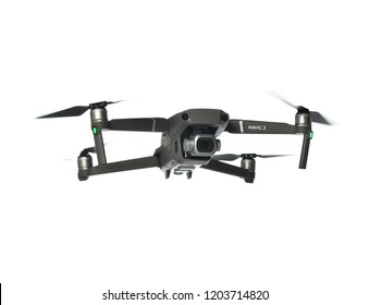 Russia, Moscow - October 10, 2018: DJI Mavic 2 Pro closeup flying on white background. The most portable drones in the market with Hasselblad camera.
