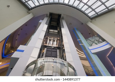 Russia, Moscow, October 15, 2015 - Modern elevator in the business center.